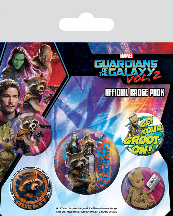 Chapita  Guardianes de la Galaxia Volumen 2 - Rocket & Groot