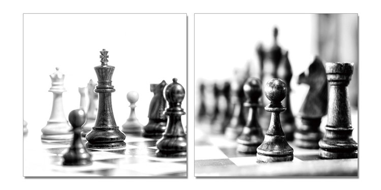 Chess - Black and White World Schilderij