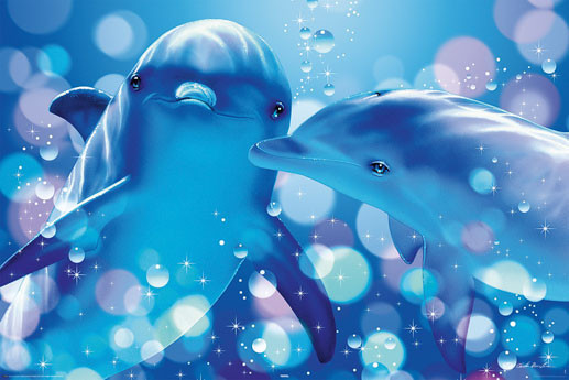 Christian R. Lassen - kissing dolphins - плакат (poster)