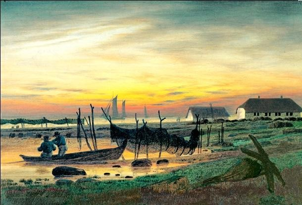 Coastal Landscape in Twilight, 1818 Reproduction d'art