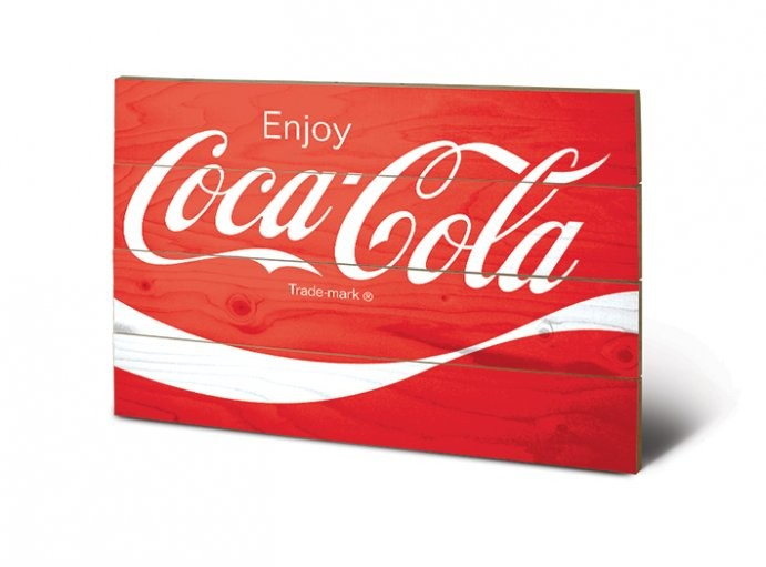 Coca-Cola - Logo plakát fatáblán