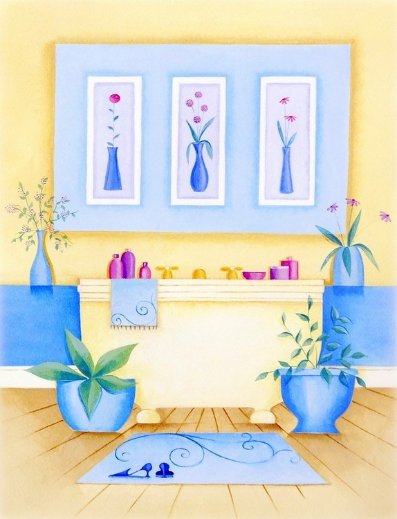 Cream Bathroom I Festmény reprodukció