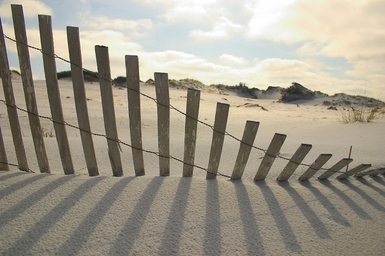 Cuadro en vidrio Fence on the Beach