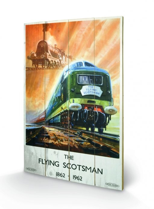 Bild auf Holz Dampflokomotive - The Flying Scotsman