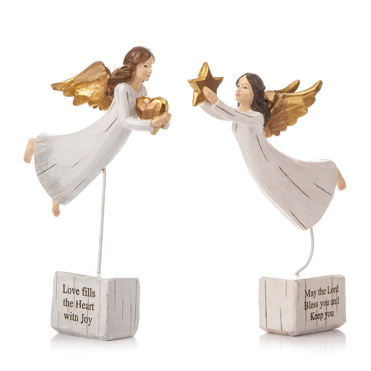 Angel Gold Flying, 2 Types, 25 cm Decoración de casa