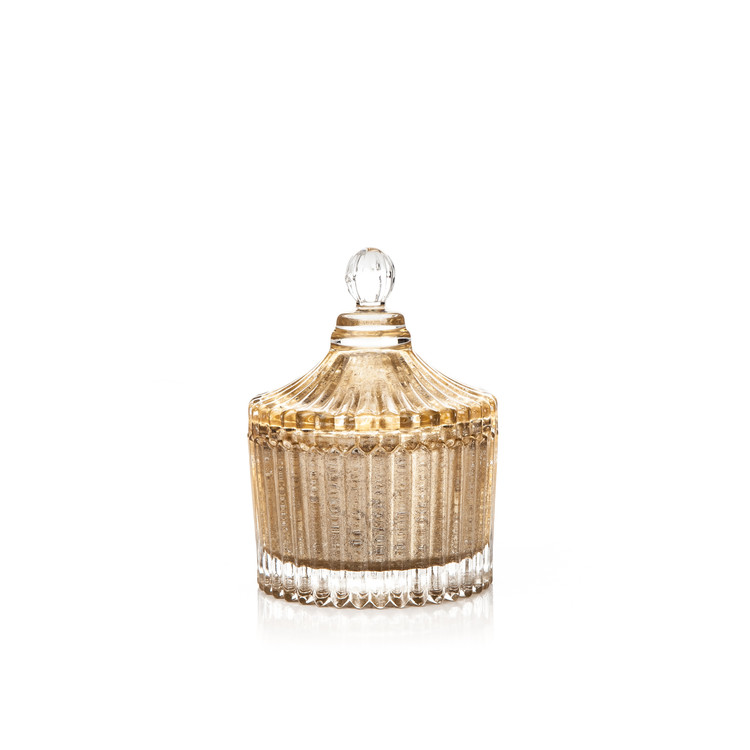 Candle with Lid Metal - Vanilla, Gold 9 cm Decoración de casa