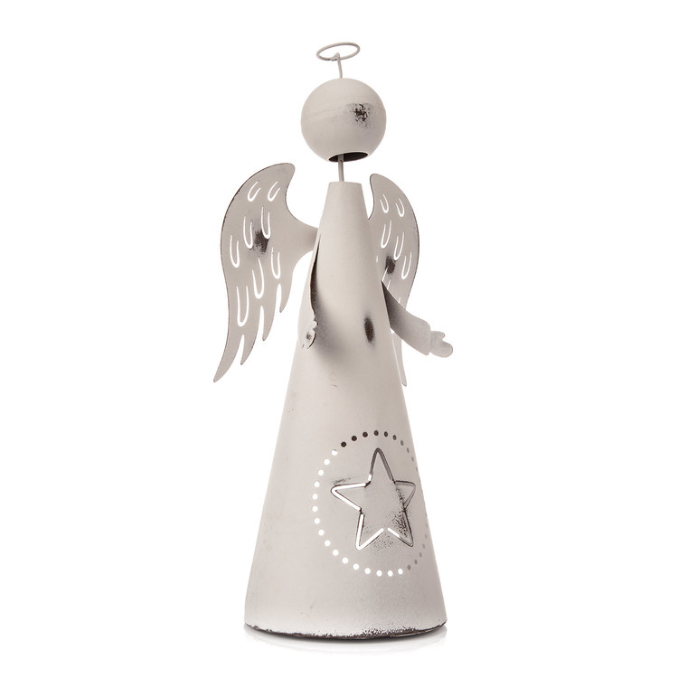 Metal Angel White with Star, 33 cm Decoración de casa