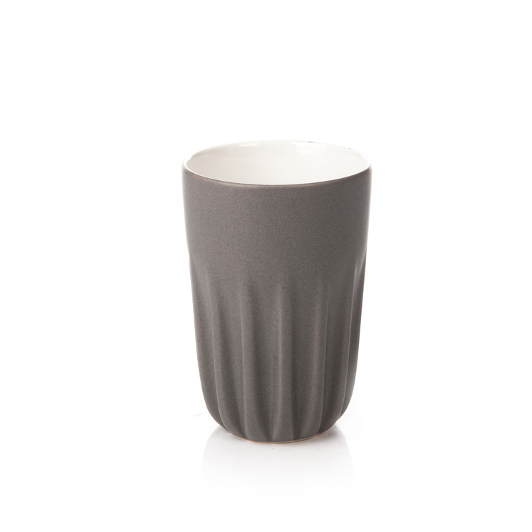 Mug Ribbed Tall, Matte Dark Gray 300 ml Decoración de casa
