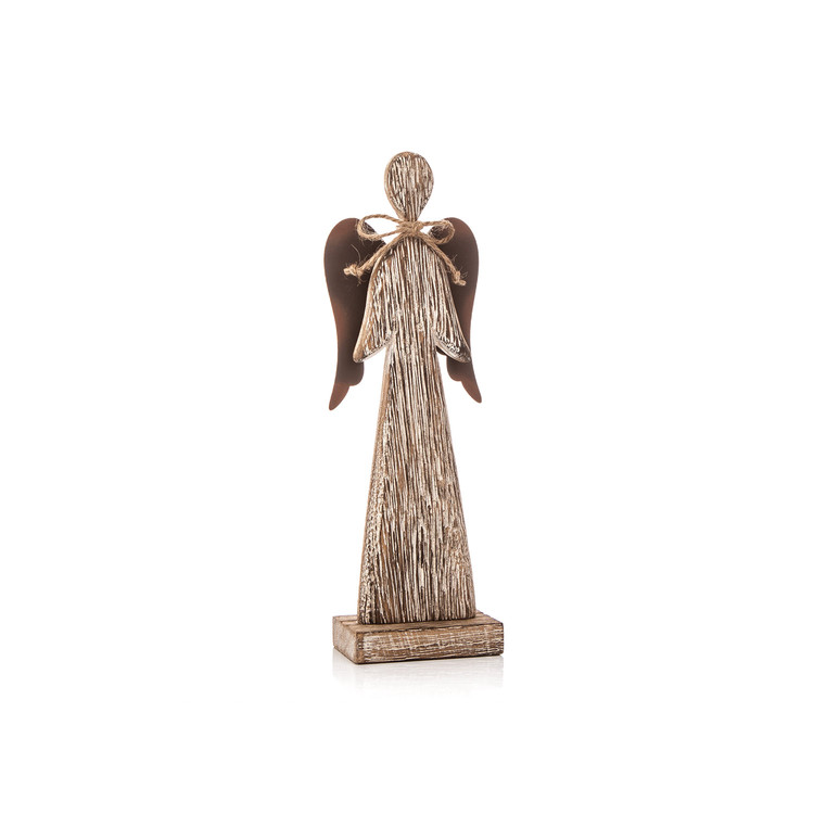 Wooden Tall Angel with Bow Faded Paint, 23 cm Decoración de casa