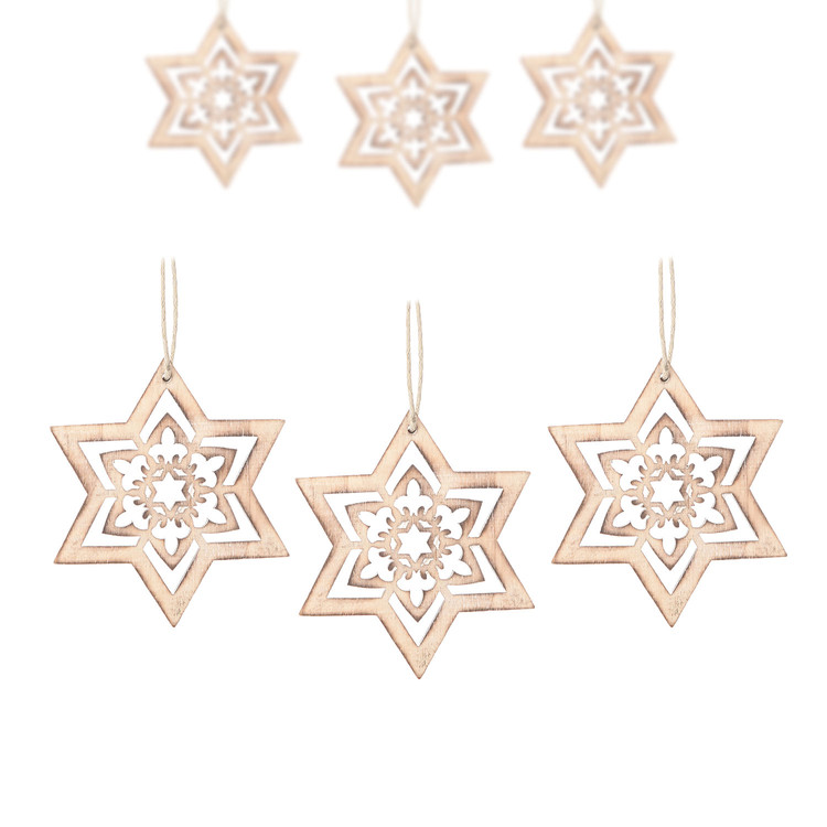 Hanging Wooden Snowflake, 8 cm, set of 6 pcs Decorazione per la casa