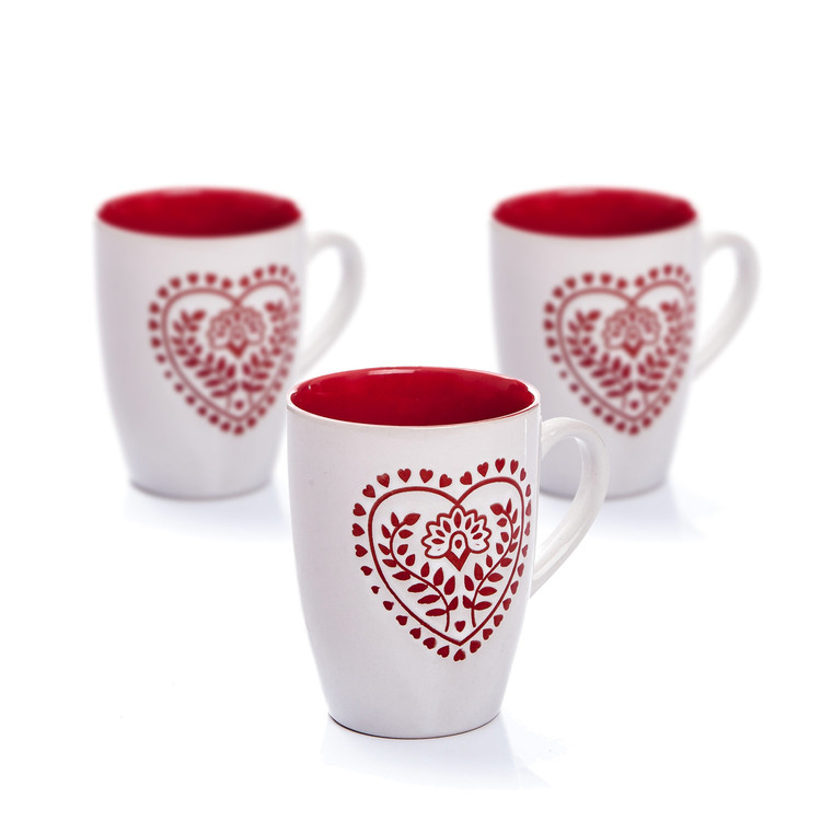 Mug White-Red Heart 300 ml, set of 3 pcs Decorazione per la casa