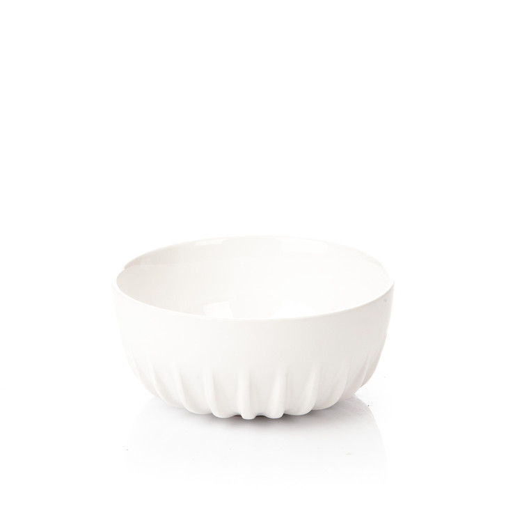 Salad Bowl Ribbed, Matte White Decorazione per la casa