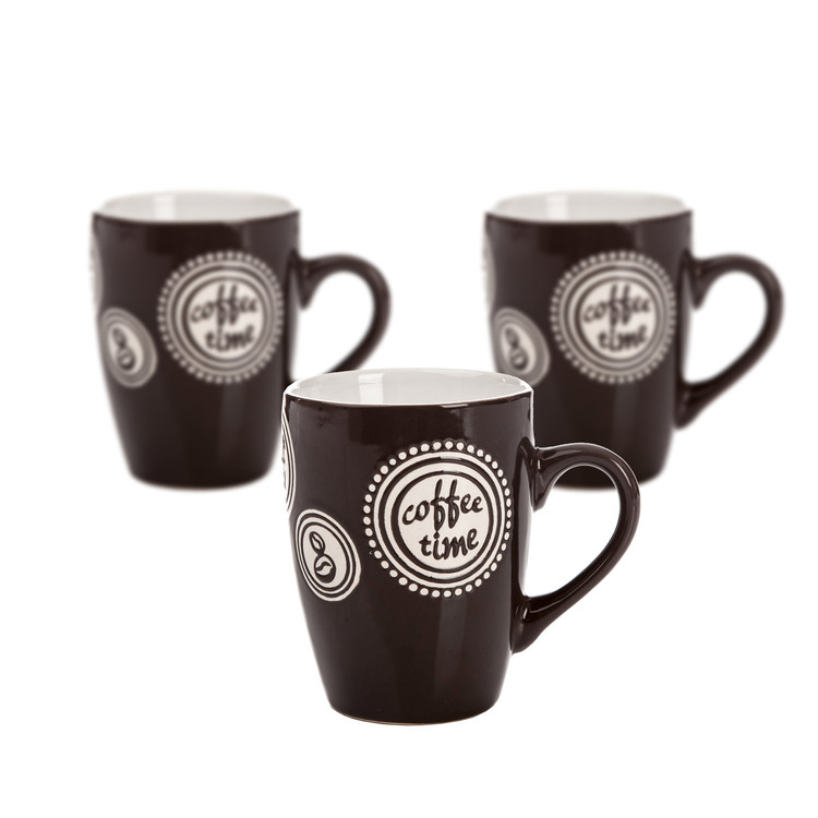 Mug Coffee Time - Dark Brown 300 ml, set of 3 pcs Dekoracje wnętrz