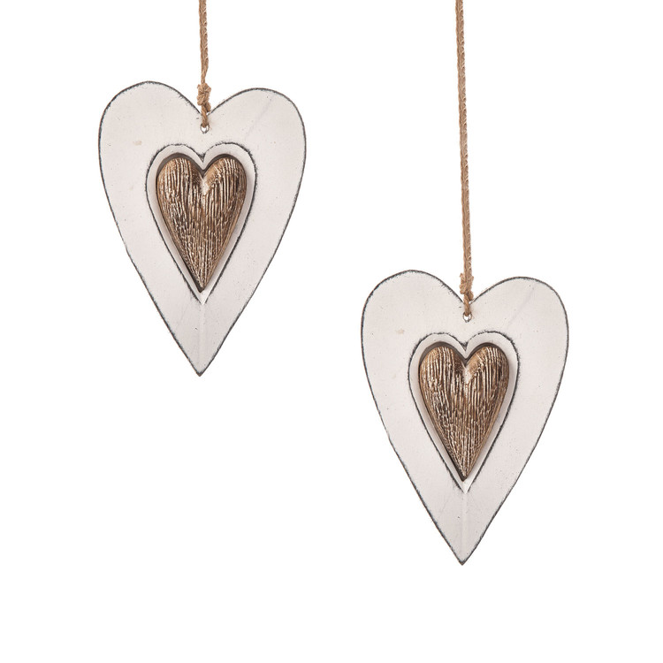 Wooden Heart Decoration Double Hanger, 12 cm, set of 2 pcs Dekoracje wnętrz