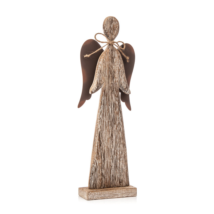 Wooden Tall Angel with Bow Faded Paint, 30 cm Dekoracje wnętrz