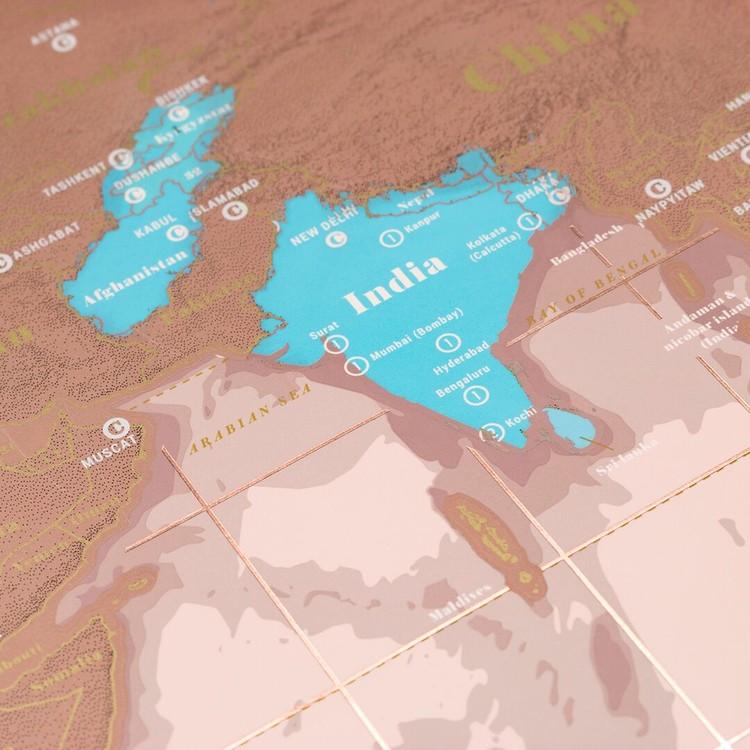 Stírací mapa World Rose Gold Edition