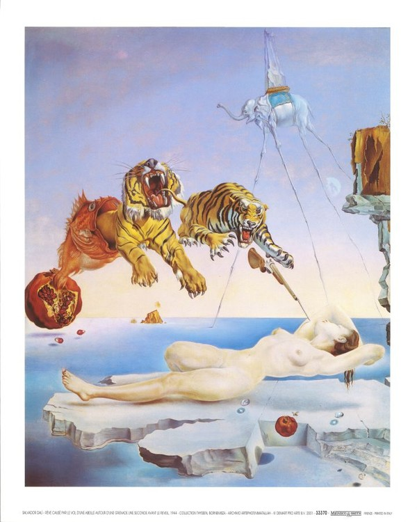 Dream Caused by the Flight of a Bee Around a Pomegranate a Second Before Awakening, 1944 Reproduction d'art