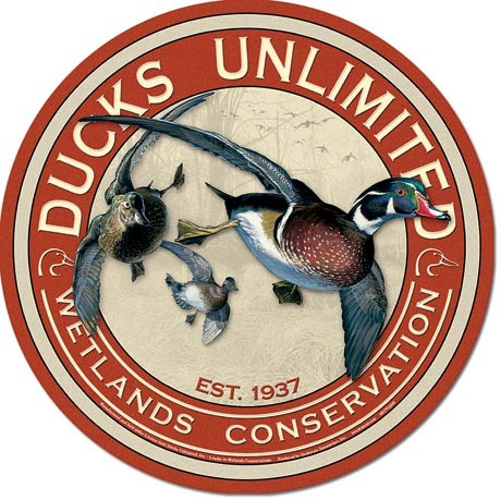 DUCKS UNLIMITED - Round  Metalplanche