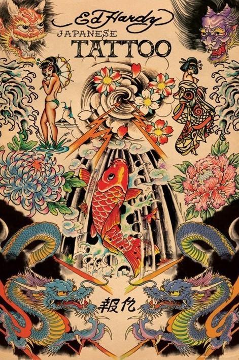 Ed Hardy - japanese tattoo плакат