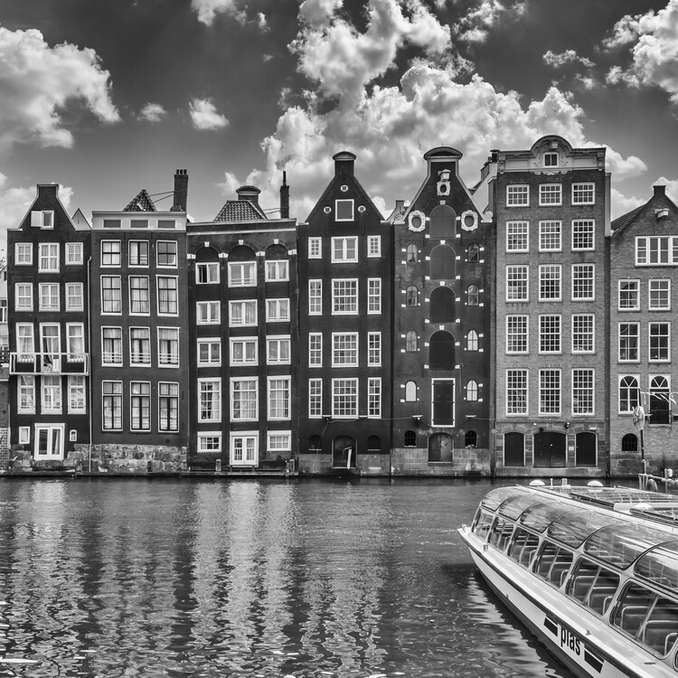 Exklusiva konstfoton AMSTERDAM Damrak and dancing houses