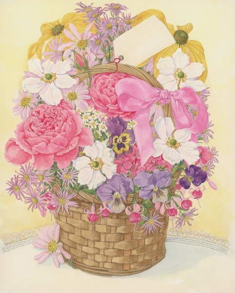 Konsttryck Basket of Flowers, 1995
