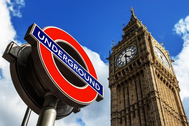 Exklusiva konstfoton Big Ben and Westminster Station Underground