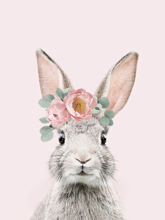 Exklusiva konstfoton Flower crown bunny pink