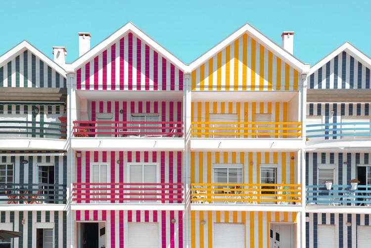 Exklusiva konstfoton Four Houses of Striped Colors