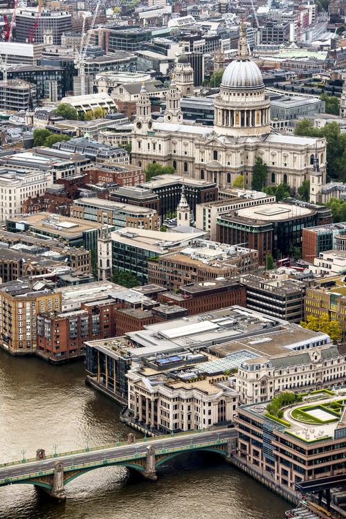 Exklusiva konstfoton View of City of London with St. Paul's Cathedral