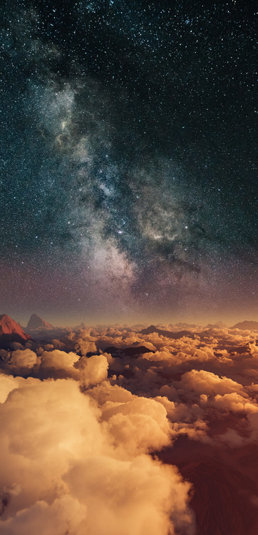 Exklusiva konstfoton Astrophotography picture of 3D landscape with milky way on the night sky.