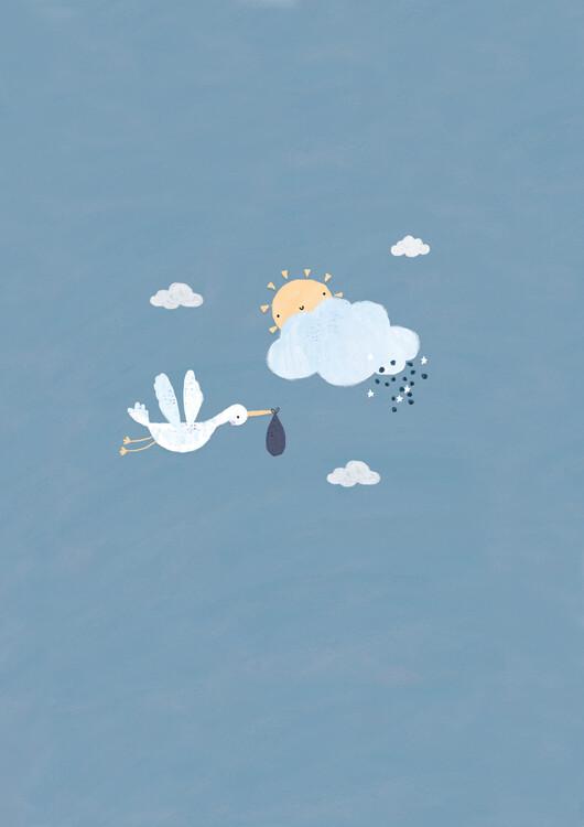 Exklusiva konstfoton Baby boy stork