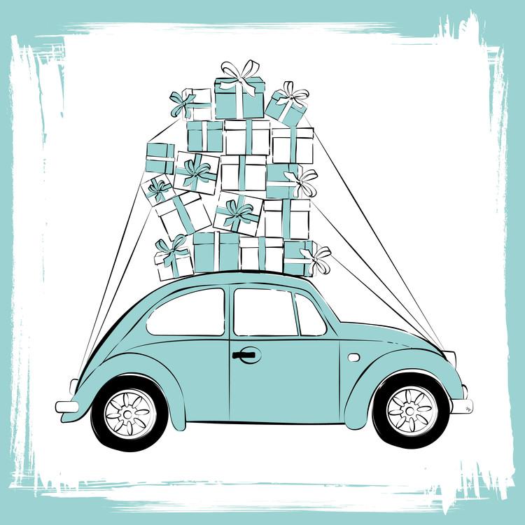 Exklusiva konstfoton Blue Car