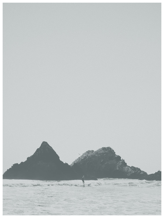 Exklusiva konstfoton border black cliff beach