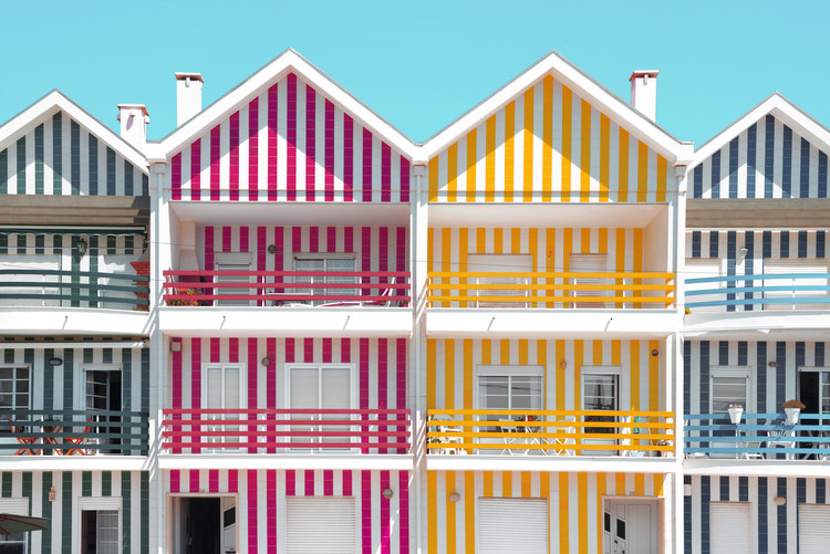 Exklusiva konstfoton Four Houses of Striped Colors