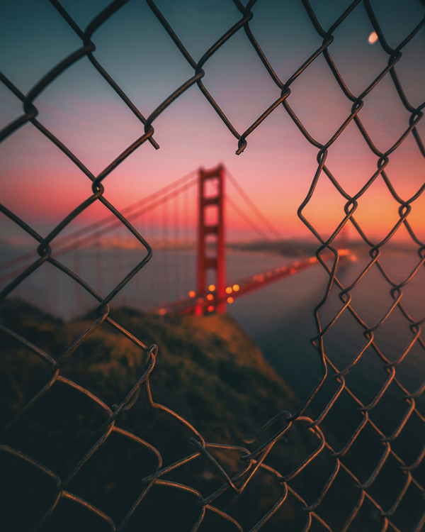 Exklusiva konstfoton Golden Gate Caged