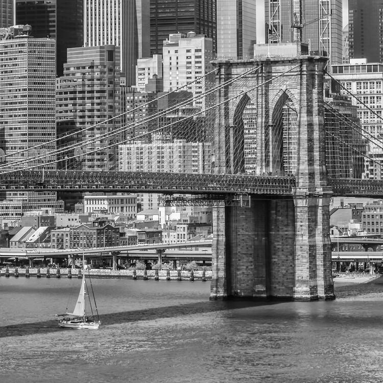 Exklusiva konstfoton NEW YORK CITY Brooklyn Bridge And East River
