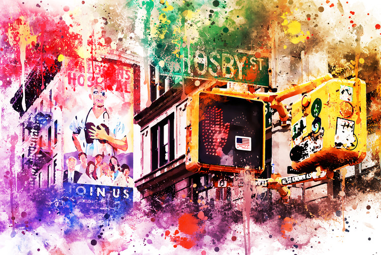 Exklusiva konstfoton NYC Watercolor 025