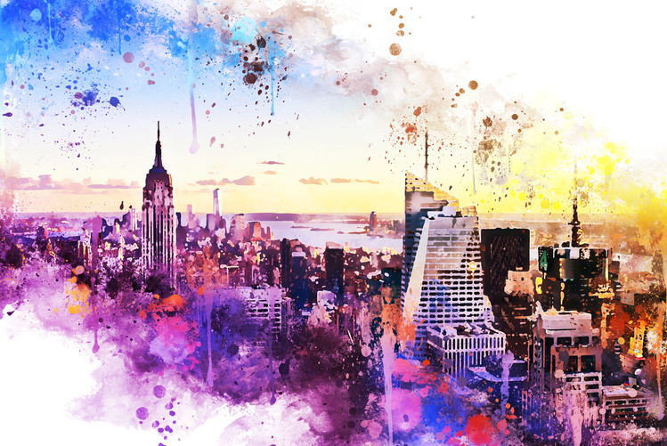 Exklusiva konstfoton NYC Watercolor 031