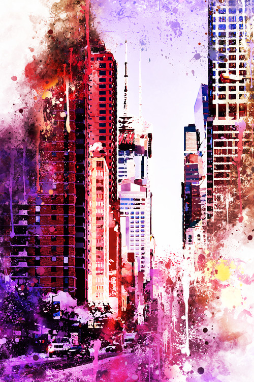 Exklusiva konstfoton NYC Watercolor 119