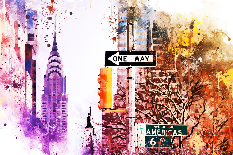 Exklusiva konstfoton NYC Watercolor 154