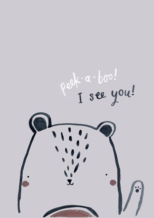 Exklusiva konstfoton Peek a boo bear
