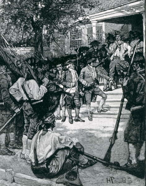 Konsttryck  Shays's Mob in Possession of a Courthouse, illustration from 'The Birth of a Nation' by Thomas Wentworth Higginson, pub. in Harper's Magazine, January 1884
