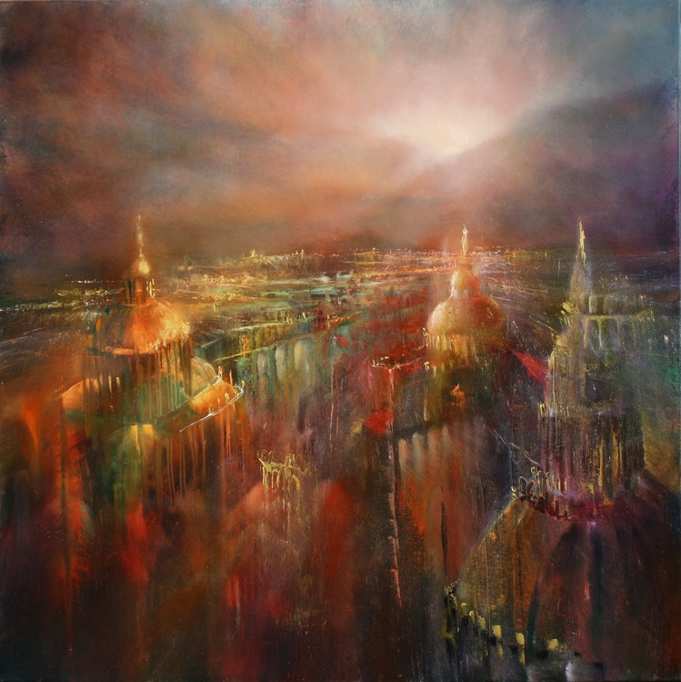 Exklusiva konstfoton The city awakening