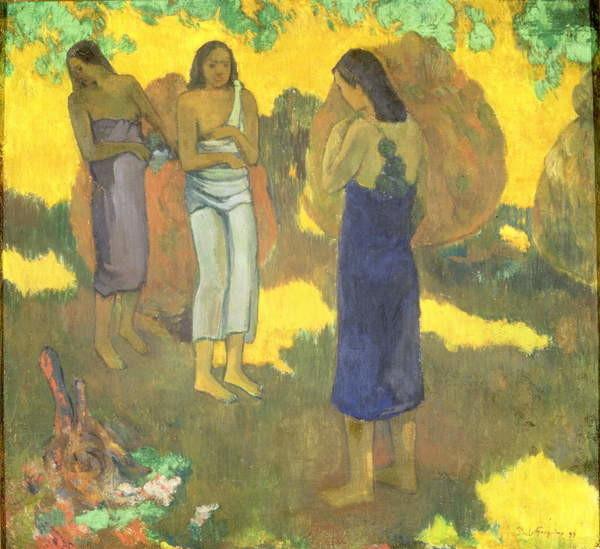 Three Tahitian Women against a Yellow Background, 1899 Festmény reprodukció