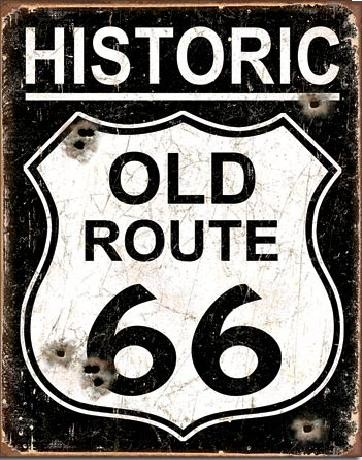 OLD ROUTE 66 - Weathered fémplakát