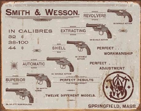 S&W - revolvers fémplakát