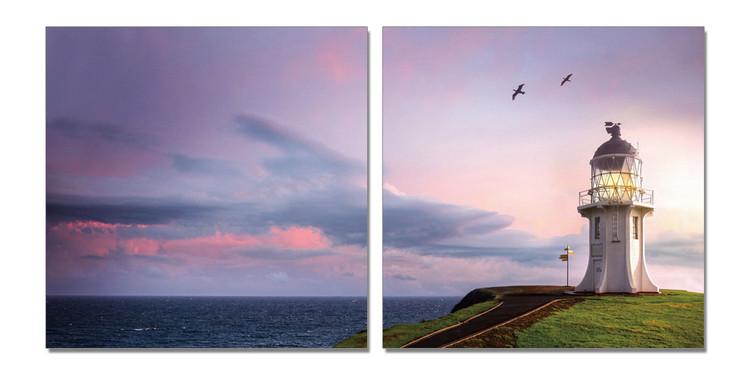 Birds flying over lighthouse Modern kép