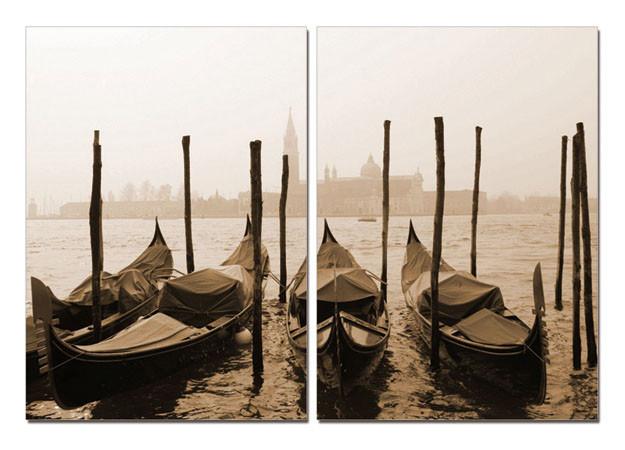 Venice - Gondolas, sepia Modern kép