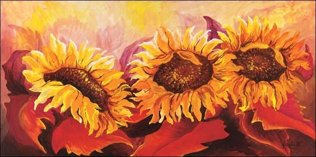 Fire Sunflowers Festmény reprodukció
