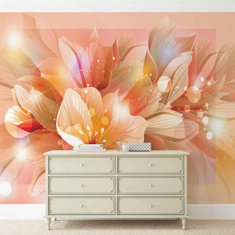 Ταπετσαρία τοιχογραφία  Flowers Nature Orange